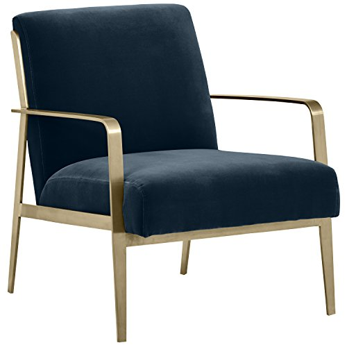 "Rivet Clover Modern Glam Velvet Brass Arm Accent Chair, 27.25""W, Cobalt"