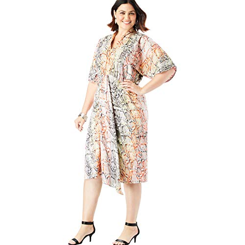 - Roamans Women's Plus Size Ruched V-Neck Dress with Dolman Sleeves - Multi Snake Print, 18 W