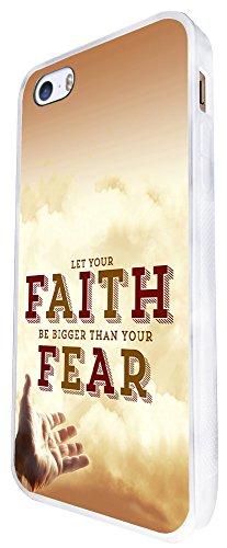 256 - Let Your Faith Be Bigger Than Your Fear Design iphone SE - 2016 Coque Fashion Trend Case Coque Protection Cover plastique et métal - Blanc
