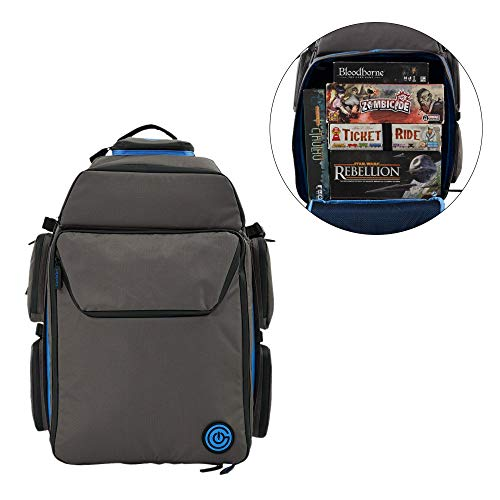 Price comparison product image Ultimate Boardgame Backpack - The Smartest Way to Carry Your Games - Expandable Multi-Functional Backpack - Carry-on Compliant (Gray / Blue)