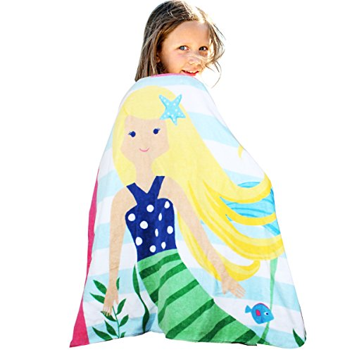 HAPEE Kids Hooded Poncho Towel 100% Cotton Perfect for Bath, Swim, Pool and Beach, Cute Cartoon snap for girls by HAPEE
