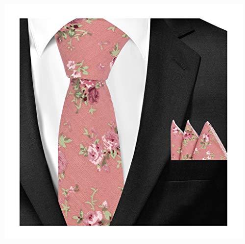 Floral Handmade Woven Tie - Men's Coral Pink Floral Cotton Woven Tie Set HANDMADE Luxury Formal Suit Necktie