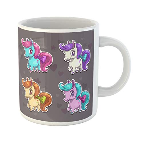 Semtomn Funny Coffee Mug Blue Funny Cartoon Colorful Pony Cute Girlish Collection Pink 11 Oz Ceramic Coffee Mugs Tea Cup Best Gift Or Souvenir]()