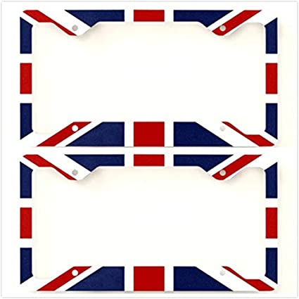 1 Flag Estodian British Union Jack Flag United Kingdom Checkered Checkerboard Car License Plate Tag Holder Frame