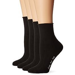 HUE womens Roll Top Shortie Socks 4 Pk