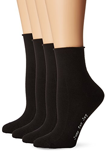 HUE Women's Roll Top Shortie Socks 4 Pk, Black, One Size