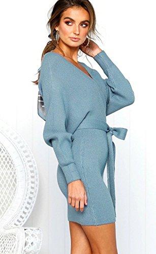 Robe Elégant Tricoté V Longue Avec Pull Femme Ceinture Croisé Asskdan Crayon Bleu Col Manche PknwO0