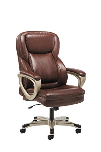 (HON Sadie Executive Computer Chair- Fixed Arms for Office Desk, Brown Leather (HVST326))