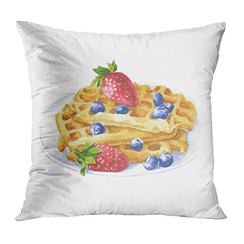 - Peyqigo Throw Pillow Cover 20x20 Inch Hand Drawn Watercolor Waffles On Plate Polyester Square Cushion Bedroom Couch Sofa Car Decorative Pillowcase