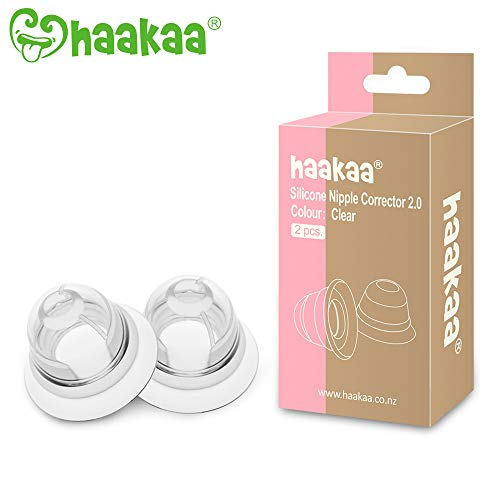 Haakaa Nipple Corrector Nipple Suckers for Flat and Inverted Nipples BPA PVC and Phthalate Free - 1 Pair with Carry Case