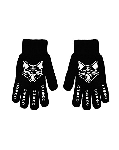 Rat Baby Witchy Woman Black Cat & Phases Moon Knit Stretch Gloves One - Phase Gloves Black