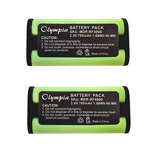 2 Pack BP-HP550-11 Replacement Battery for Sony BP-HP550-11 Headphone Battery (700mAh, 2.4V, Ni-MH) -  Olympia Battery, MDR-RF4000-2pack-1