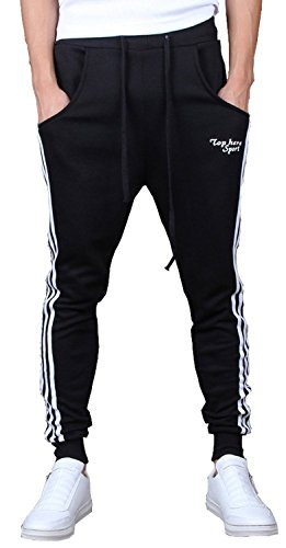 - Keybur Mens Jogging Pants Tracksuit Bottoms Running Trousers Hiphop Dance Jogger (XL, Black)