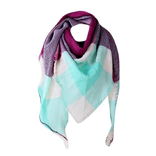 Free Crochet Afghan Patterns (ShenPr Clearance Women Big Grid Stitching Color Shawl Cashmere Autumn Plaid Wool Scarves Scarf (#Purple))