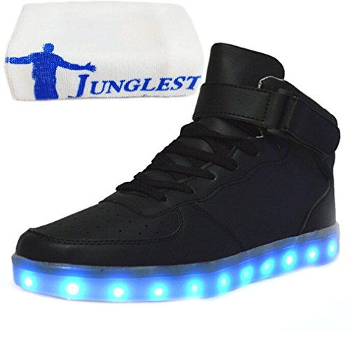[Presente:pequeña toalla]JUNGLEST® Unisex 7 Colors USB Carga LED Luz Luminosas Flashing Sneakers Altotop Zapatos Zapatillas de Depo c41