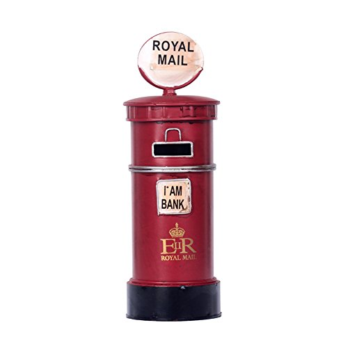 YOURNELO Cartoon European Vintage Metal Royal Mail Mailbox Toy Bank Money Box Coin Piggy Bank for Adults Boys Girls (Royal Mailbox)