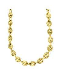 "14k Yellow Gold Mariner Link Chain Mens Bracelet 4.7mm, 10"""