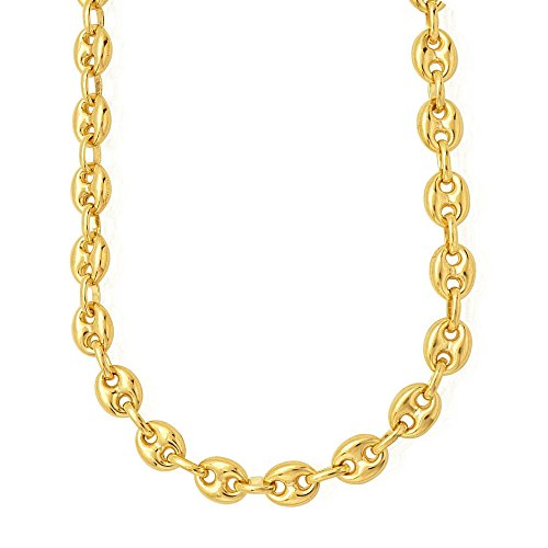14k Yellow Gold Puffed Mariner Link Chain Necklace, 4.7mm, 18