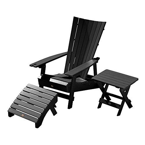 Highwood AD-KITADRI4-BKE Manhattan Beach Adirondack Chair with Side Table and Ottoman, Black
