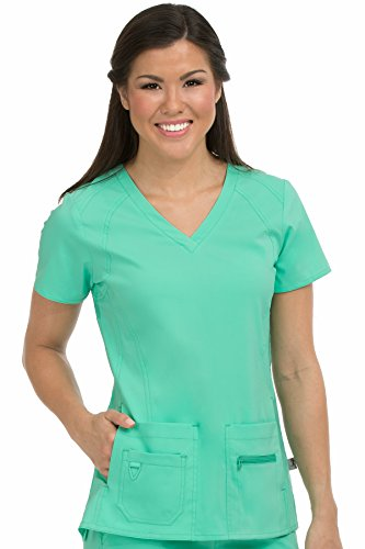 Med Couture Women's 'Activate' V-Neck Refined Sport Knit Scrub Top, Sea Crystal, XXX-Large (Sea Apparel Crystal)