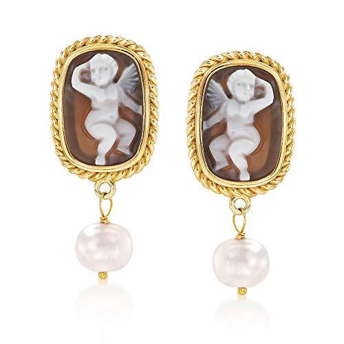 Ross-Simons Italian 8mm Cultured Pearl Shell Cameo Earrings in 18kt Gold Over Sterling