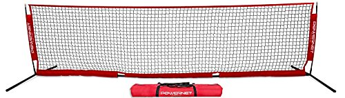 PowerNet Soccer Tennis 12 x 3 Net | Portable Instant | Indoor Outdoor | Metal Collapsible Base Weighted | Durable Vertical Bow Posts | Quick Setup Easy Folding Storage | 1 Net + 1 Carrying Bag | 12x3 (Best Portable Tennis Net)