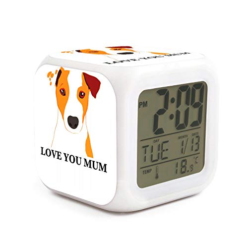 seuiop Jack Russell Terrier Dog 'Love You Mum' Coffee Alarm Clock Emperature Display 7 Color Night Light Sleep Timer Night Glowing Cube Fit Birthday Gifts for Kids