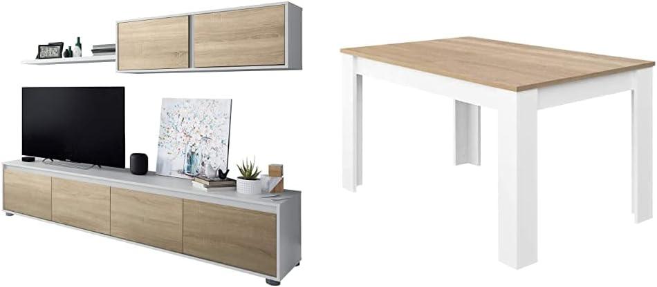 Habitdesign Mueble de Salon Moderno, Modulos de Comedor, Modelo Alida + Mesa de Comedor Extensible, Mesa salón o Cocina, Acabado en Color Blanco Artik y Roble Canadian