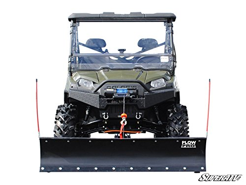 2009-14 Polaris Ranger 500/800 Fullsize Diamond Plate Front Brush Guard Plow Pro Heavy Duty Snow Plow - Complete Kit by Super ATV SPM-P-RAN-K-52#CE by Super ATV