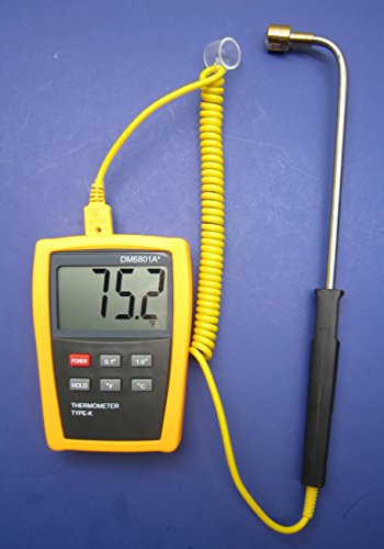 Digital k-type Thermocouple Thermometer with Angled High Temperature Surface Probe Sensor
