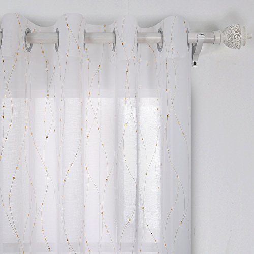 Deconovo Grommet White Sheer Curtains 84 Wave Line with Dots Foil Printed Linen Look Transparent Curtains for Dining Room 52W x 84L Gold 2 (Foil Dots)