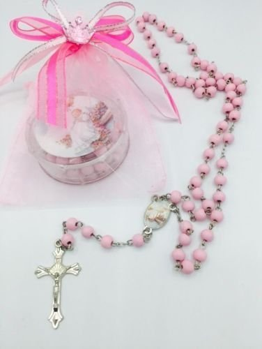 12 pcs Pink Scented Wooden Rosaries Baby Baptism Party Favors Recuerdos Rosario (Pink Rosary For Party Favor)