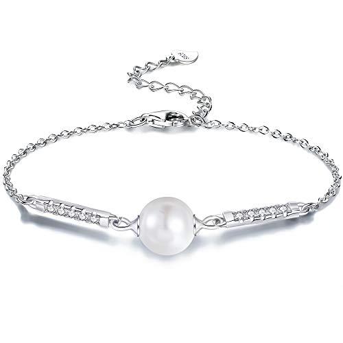 [해외]어머니의 날 선물 진주 팔찌 925 스털링 실버 「 사랑의 방어 」 실버 한 담 수 진주 팔찌 여성용 생일 기념일 크리스마스 선물 백 금 마무리 주얼리 BOX 된 / Mother`s Day Gift Pearl Bracelet 925 Sterling Silver \\