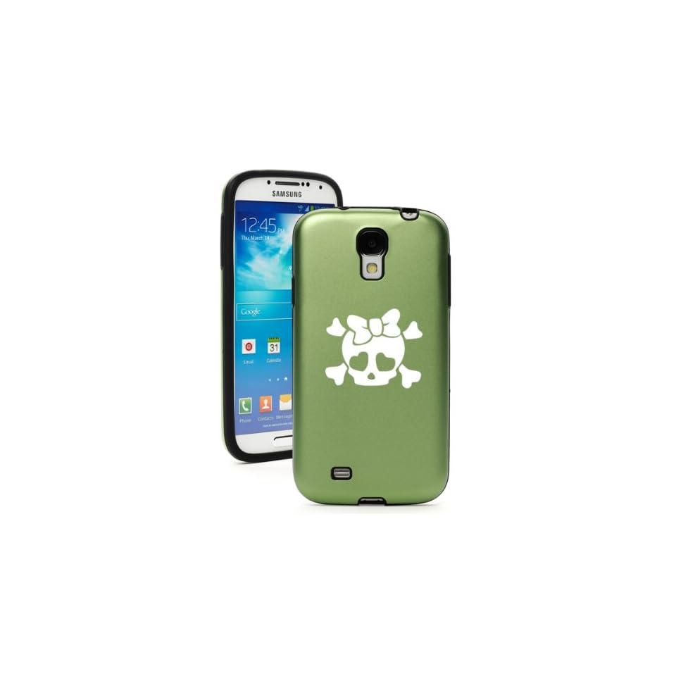 Green Samsung Galaxy S4 S IV i9500 Aluminum & Silicone Hard Back Case Cover KA365 Heart Skull Bow