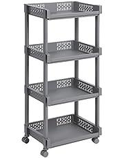 Songmics Trolley van kunststof, multifunctionele trolley, met wieltjes voor keuken, kantoor, badkamer, met 4 etages