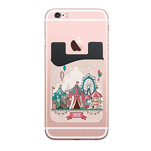 Circus Facilities Scenery in Flat Balloons Cell Phone Card Holder,Adhesive Phone Pocket Card Holder Sleeves Pouch Compatible Phone,Samsung,All Smartphones