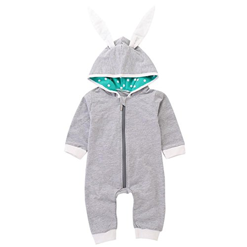 SUNTEAMO Infant Baby Girl Boy Rabbit 3D Ear Hooded Romper Jumpsuit Outfits Clothes (Gray, 90) -