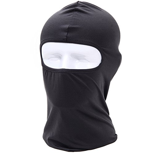 Tactical Balaclava Lycra Walking Man Breathable Military Mask Paintball Hood Hunting Headband Motorcycle Neck Gaiter Windproof Scarf for Hiking Skateboard Running (black) - Mask Military Paintball