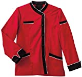 Five Star Chef Apparel Ladies Long Sleeve Executive Coat with Moisture Wicking Mesh Back (Red, X-Small)
