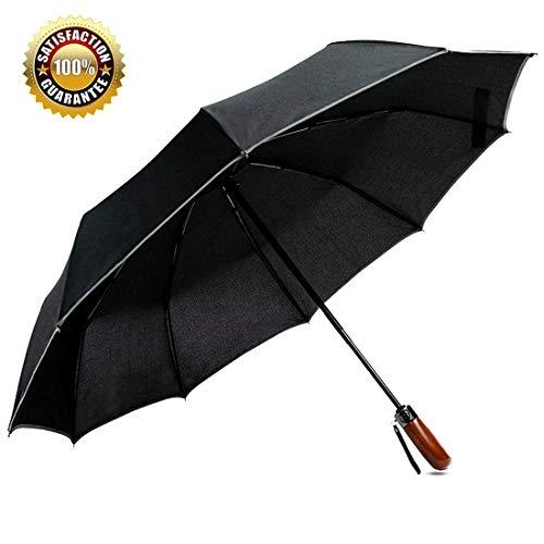Travel Umbrella windproof,Auto Open &Close,Real Wood Handle, Compact Folding,Lahawaha (Black)