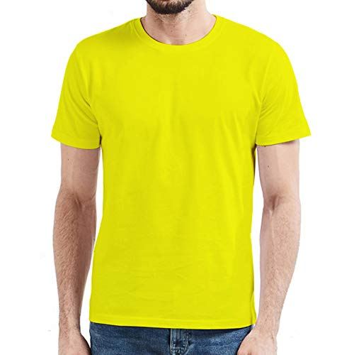 Miracle(Tm) Wicking High Visibility Sport Tshirt for Mens - Adult Yellow Neon Color Running Fitness Shirt (L)