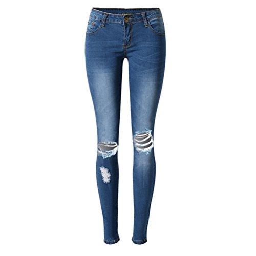 Confortable Denim Jeans Trou Bris Denim Bleu Dames Svelte Pantalon Jeans Stretchy Jeggings Crayon Maigre Zhhlaixing Femmes tendue wvqOOI