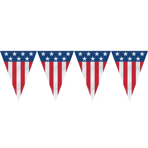 Plastic July American Pennant Banner