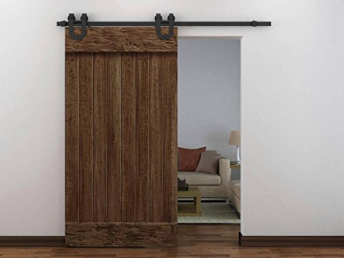 RESTORATION STANDARD HOME01 European Antique Western Modern Horseshoe Wood Sliding Closet Rustic 6ft Barn Door Track Hardware (Rusty Black)