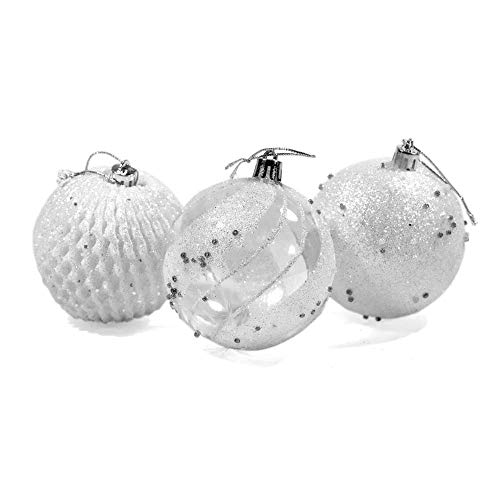 ALEKO CHB01WH Shatterproof Iridescent Holiday Christmas Ornament Variety Pack Set of 9 White and Silver