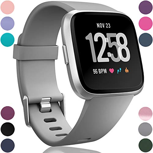 Wepro Replacement Bands Compatible with Fitbit Versa SmartWatch, Sports Watch Band for Women Men, Small, Gray