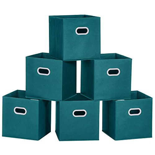 MaidMAX Cloth Storage Bins Cubes Baskets Containers with Dual Plastic Handles for Home Closet Bedroom Drawers Organizers, Flodable, Teal, Set of 6