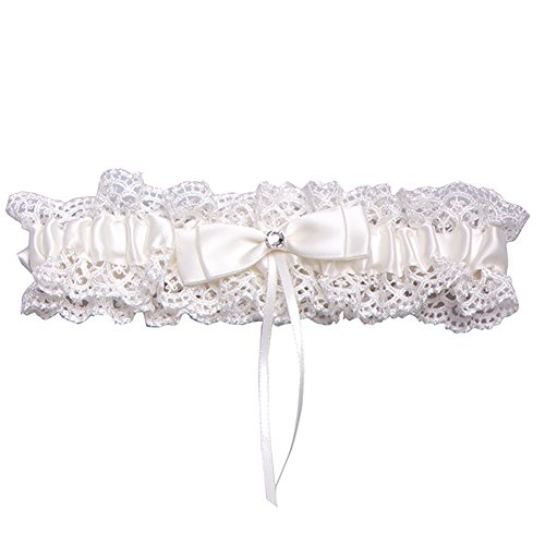 (Rimobul Lace Wedding Garter with Satin Bow - Cream)