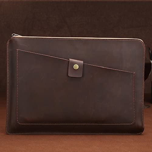 Sony Coffee CHUWI Color : Coffee Samsung DELL Alienware HP Lenovo for 13.3 inch and Below MacBook AFANG Laptop Bag Universal Genuine Leather Business Laptop Tablet Zipper Bag ASUS