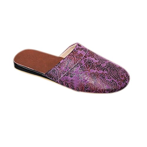 Spring Slippers Home TELLW and Anti Wooden European Autumn Slippers Sliding Women Purple Couple Summer Retro Floor Home Winter wwZ5p